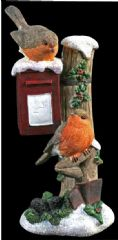 PREMIER MO085939  Robins On Post Box Ornament